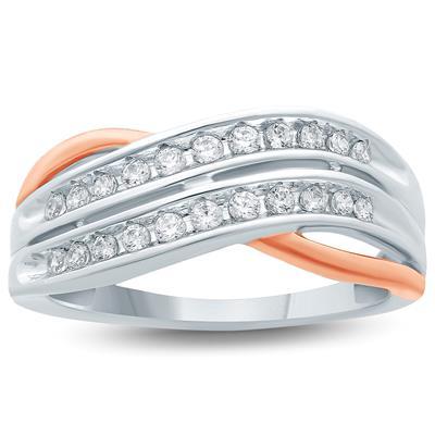 1/4  Carat TW  Diamond Fashion Ring 10K Two Tone  Gold