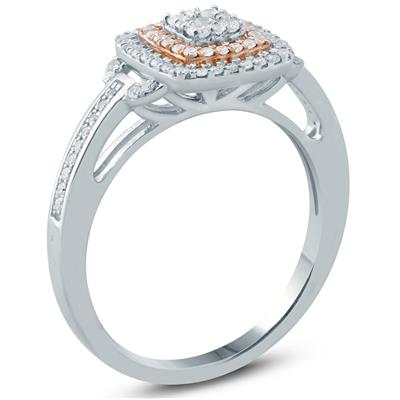 1/3 Carat TW Diamond Engagement Ring in 10K White and Rose Gold