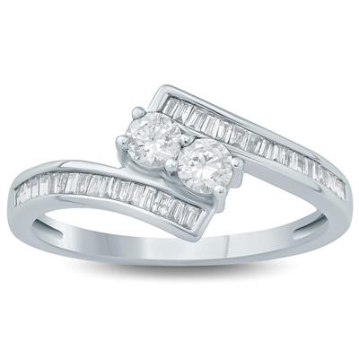 1/2 Carat TW Two Stone Diamond  Ring in 10K White Gold