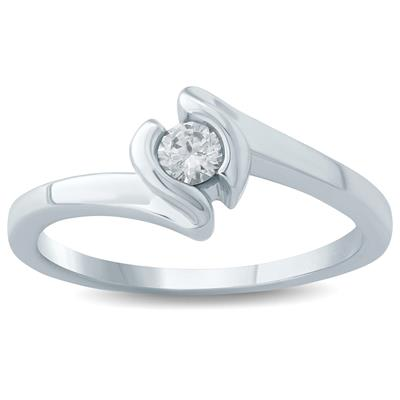 1/6  Carat Diamond Solitaire Ring in 10K White Gold