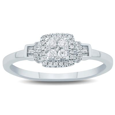 1/4 Carat TW Baguette and Round Diamond Engagement Ring in 10K White Gold