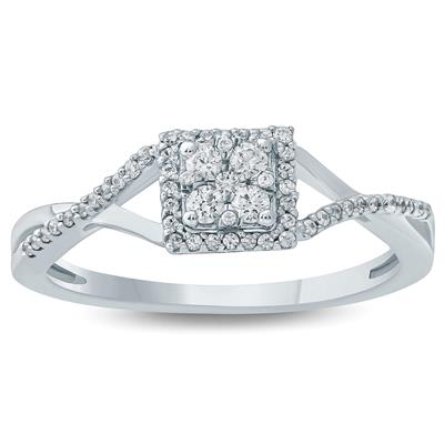 1/4 Carat TW Diamond Engagement Ring in 10K White Gold