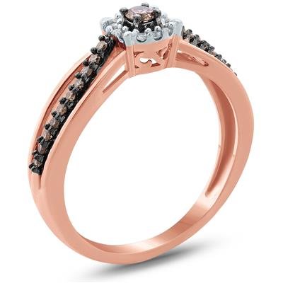 1/6 Carat TW Brown And White Diamond Ring in 10K Rose Gold