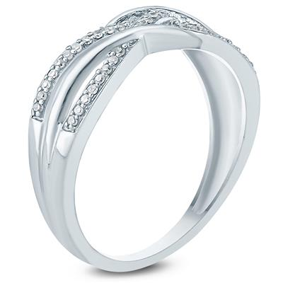 1/10 Carat TW Braided Diamond Fashion Ring 10K White  Gold