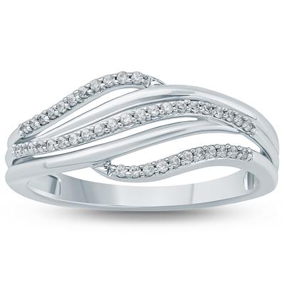 1/6 Carat TW  Diamond Fashion Ring 10K White  Gold