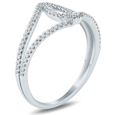 1/4 Carat TW Open Diamond Ring 10K White  Gold