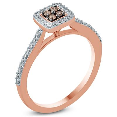 1/3 Carat TW Brown And White Diamond Halo Ring in 10K Rose Gold