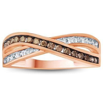1/3 Carat TW Brown and White Diamond Ring 10K Rose  Gold