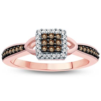 1/5 Carat TW Brown and White Diamond Ring 10K Rose  Gold