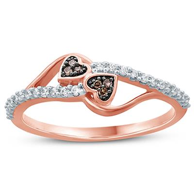 1/5 Carat TW Brown and White Diamond Heart Ring 10K Rose  Gold