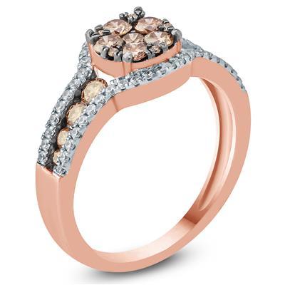 3/4 Carat TW Brown and White Diamond Ring 10K Rose  Gold