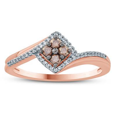 1/4 Carat TW Brown and White Diamond Ring 10K Rose  Gold