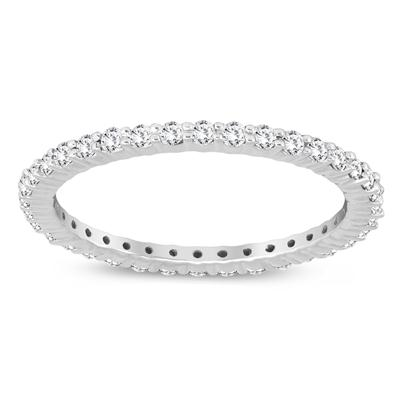 AGS Certified 1/2 Carat TW Diamond Eternity Band in 10K White Gold (K-L Color, I2-I3 Clarity)