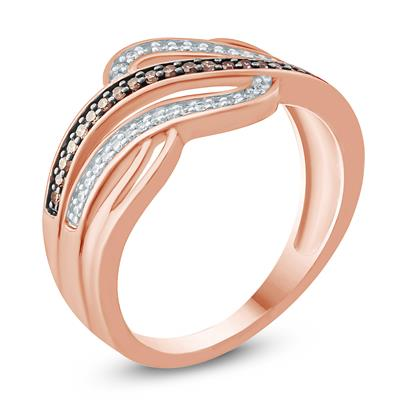 1/5 Carat TW Brown and White Diamond Wave Ring in 10K Rose Gold