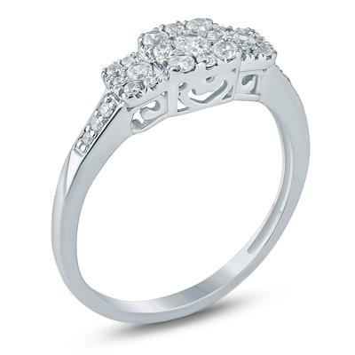 1/3 Carat TW Diamond Three Stone Styled Cluster Ring in 10K White Gold