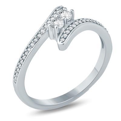 1/2 Carat TW Two Stone Diamond Ring in 10K White Gold