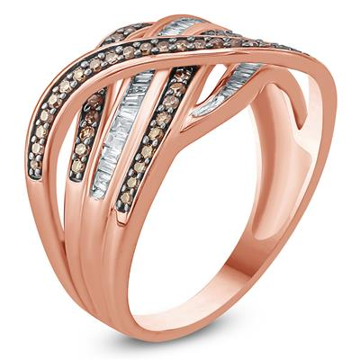 1/2 Carat TW Brown and White Diamond Ring in 10K Rose Gold