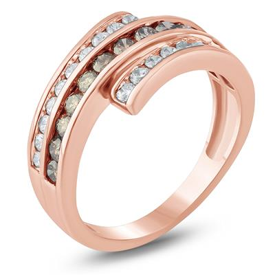 1 Carat TW Brown and White Diamond Ring in 10K Rose Gold
