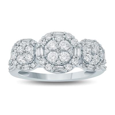 1 Carat Baguette and Round Diamond Three Stone Cluster Ring in 10K White Gold