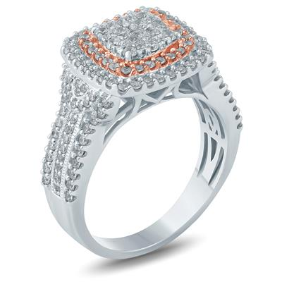 1 Carat TW Diamond Engagement Ring in 10K Two Tone Gold