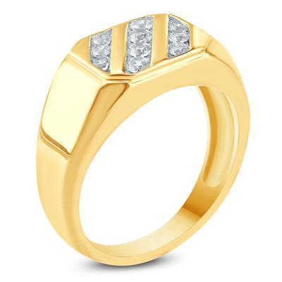 1/2 Carat TW Mens Diamond Ring in 10K Yellow  Gold
