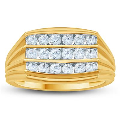 1 Carat TW Mens White Diamond Ring in 10K Yellow  Gold