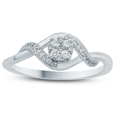1/8 Carat TW Diamond Fashion Ring in 10K White Gold