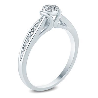 1/5 Carat TW Diamond  Engagement Ring in 10K White Gold