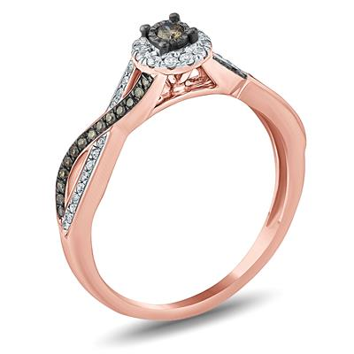 1/4 Carat TW Brown and White Diamond Ring in 10K Rose Gold