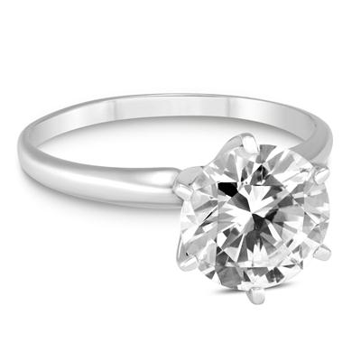 PREMIUM QUALITY - 1 Carat Diamond Solitaire Ring in 14K White Gold (E-F Color, SI1-SI2 Clarity)