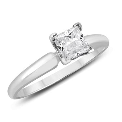Almost 1/2 Carat Princess Diamond Solitaire Ring in 14K White Gold