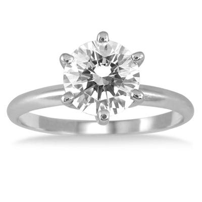 PREMIUM QUALITY - 1 1/2 Carat Diamond Solitaire Ring in 14K White Gold (E-F Color, SI1-SI2 Clarity)