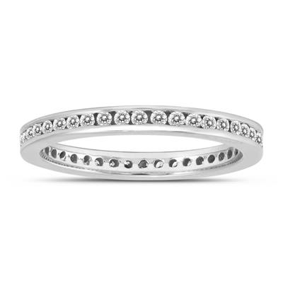 1/2 Carat TW Channel Set Thin Eternity Diamond Band in 10K White Gold