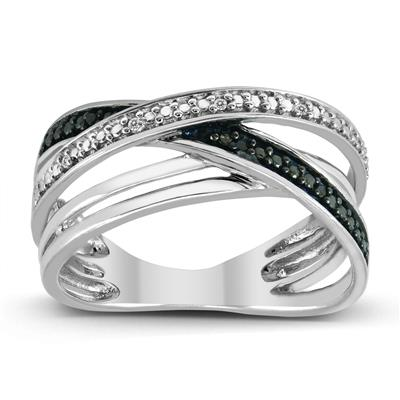 Black and White Diamond Criss Cross Ring in .925 Sterling Silver