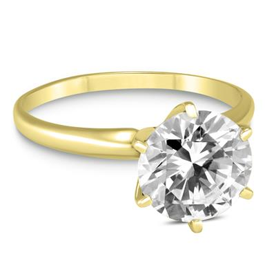 38724c3d9c3 PREMIUM QUALITY - 1 Carat Diamond Solitaire Ring in 18K Yellow Gold (E-F  Color