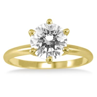 PREMIUM QUALITY - 1 Carat Diamond Solitaire Ring in 18K Yellow Gold (E-F Color, SI1-SI2 Clarity)