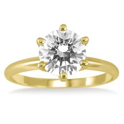 PREMIUM QUALITY - 1 Carat Diamond Solitaire Ring in 18K Yellow Gold (E-F Color, SI1-SI2 Clarity)
