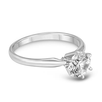 PREMIUM QUALITY - 3/4 Carat Diamond Solitaire Ring in 14K White Gold (G-H Color, SI1-SI2 Clarity)