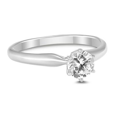 AGS Certified 1/3 Carat Round Diamond Solitaire Ring in 14K White Gold (I-J Color, SI1-SI2 Clarity)