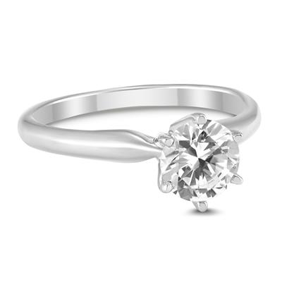 AGS Certified 1/2 Carat Round Diamond Solitaire Ring in 14K White Gold (I-J Color, SI1-SI2 Clarity)