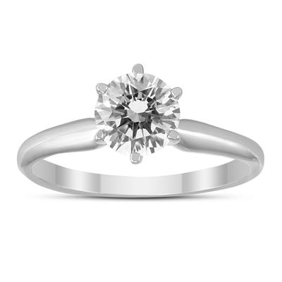 AGS Certified 3/4 Carat Round Diamond Solitaire Ring in 14K White Gold (I-J Color, SI1-SI2 Clarity)