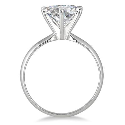 AGS Certified 1 Carat Round Diamond Solitaire Ring in 14K White Gold (I-J Color, SI1-SI2 Clarity)
