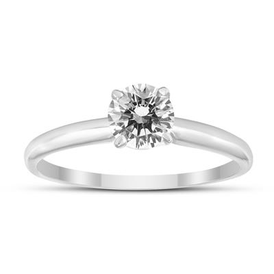 1/4 Carat Round Diamond Solitaire Ring in 14K White Gold