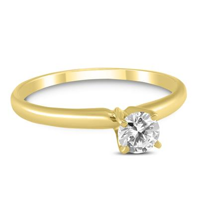 1/4 Carat Round Diamond Solitaire Ring in 14K Yellow Gold
