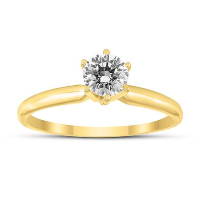 1/2 Carat Round Diamond Solitaire Ring in 14K Yellow Gold