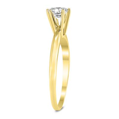 3/8 Carat Round Diamond Solitaire Ring in 14K Yellow Gold