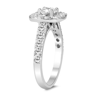 2 Carat TW Diamond Halo Engagement Ring in 14K White Gold