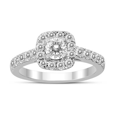1 Carat Cushion Halo Diamond Engagement Ring 10k White Gold