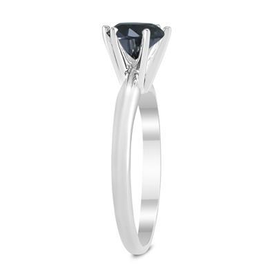 1 Carat Round Black Diamond Solitaire Ring in 14K White Gold