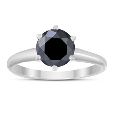 1 1/2 Carat Round Black Diamond Solitaire Ring in 14K White Gold